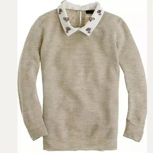 J. CREW Jeweled Peter Pan Removable Collar Sweater